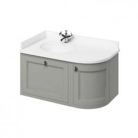 Burlington Olive 1000mm Wall Hung Curved Vanity Unit, Worktop & Basin - Left Hand