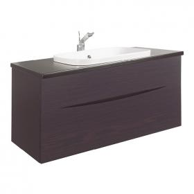 Bauhaus Glide II Wenge 100 Vanity Unit With Plus+Ton Worktop & White Basin