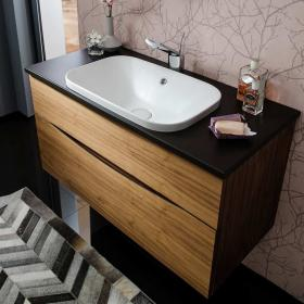 Bauhaus Glide II American Walnut 100 Unit With Plus+Ton Worktop & White Basin