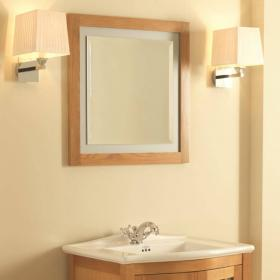 Imperial Linea Natural Oak Mirror With Opaque Glass Border