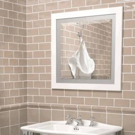 Imperial Linea White Mirror With Opaque Glass Border