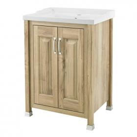 Old London Natural Walnut 600mm Floorstanding Vanity Unit & Basin