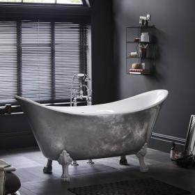 Heritage Lyddington Stainless Steel Effect Freestanding Acrylic Bath & Feet