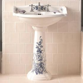 Imperial Oxford Decorated Large Basin and Pedestal
