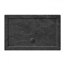 Zamori 1600 x 900mm Rectangle Slate Effect 35mm Shower Tray & Waste
