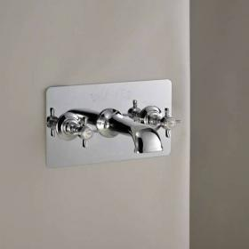 St James Collection Wall Mounted Bath Filler With Plate - England Handle