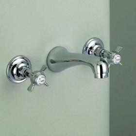 St James Collection 3 Hole Wall Mounted Basin Mixer - England Handle