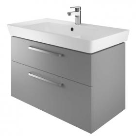 The White Space Scene 800mm Gloss Ash Grey Wall Hung Vanity Unit & Basin