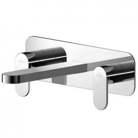 Asquiths Solitude Wall Mounted Three Tap Hole Basin Mixer With Back Plate