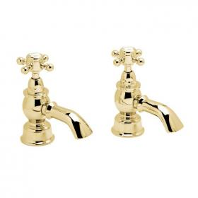 Heritage Hartlebury Vintage Gold Bath Pillar Taps