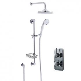 Burlington Classic Dual Outlet Digital Shower Valve, Head, Slide Rail & Soap Basket
