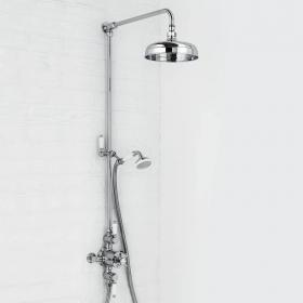 Traditional Exposed Thermostatic Shower Valve With Rigid Riser, Hand Shower & Shower Head Kit