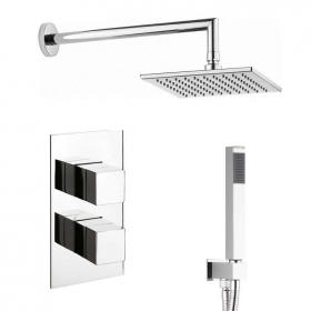 Crosswater Water Square Shower Valve With Shower Head & Handset