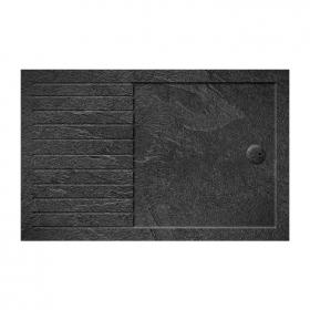 Zamori 1700 x 800mm Slate Effect Walk In 35mm Shower Tray With Drying Area