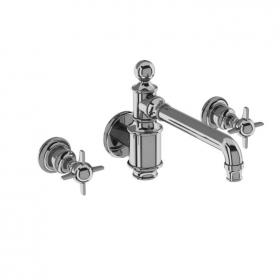 Arcade Chrome Wall Mounted 3 Tap Hole Basin Mixer