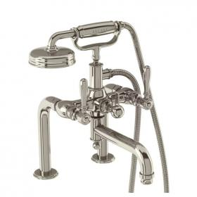 Arcade Nickel Deck Mounted Bath Shower Mixer With Black, Nickel Or White Levers