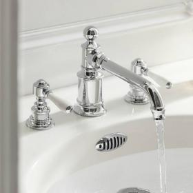 Arcade Chrome 3 Tap Hole Basin Mixer With Black, Chrome Or White Levers