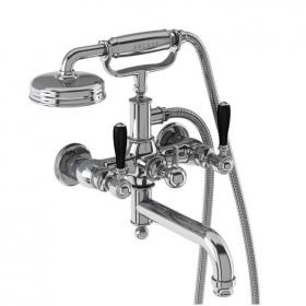 Arcade Chrome Wall Mounted Bath Shower Mixer With Black, Chrome Or White Levers