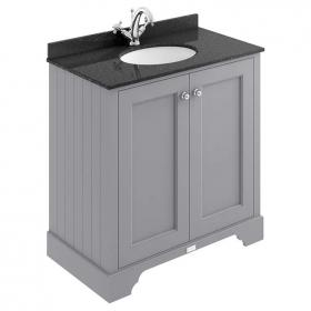 Bayswater Plummett Grey 800mm 2 Door Vanity Unit & Marble Top