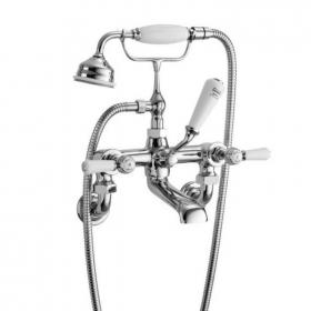 Hudson Reed Topaz White Lever Wall Mounted Bath Shower Mixer With Hexagonal Collars