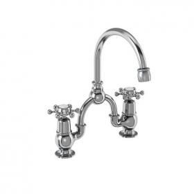 Burlington Birkenhead 2 Tap Hole Bridge Basin Mixer With Curved Spout