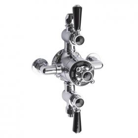 Hudson Reed Topaz Black Triple Exposed Thermostatic Shower Valve