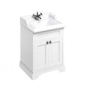 Burlington Matt White 650mm Freestanding Vanity Unit With Doors & Classic Basin