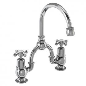 Burlington Claremont 2 Tap Hole Bridge Mixer With Curved Spout