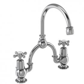 Burlington Claremont Bridge Basin Mixer With Curved Spout & Invisible Overflow