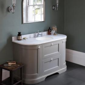 Burlington Olive 1340mm Curved Vanity Unit With Doors & Drawers, Worktop & Basin