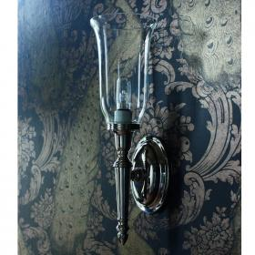 Arcade Oval Base Bathroom Wall Light With Clear Glass Vase Shade