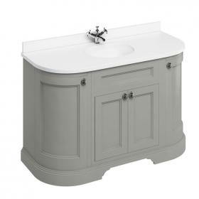 Burlington Olive 1340mm Freestanding Curved Vanity Unit With Worktop & Basin