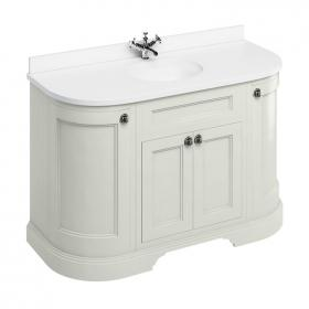 Burlington Sand 1340mm Freestanding Curved Vanity Unit With Worktop & Basin