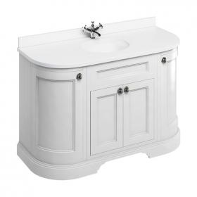 Burlington Matt White 1340mm Freestanding Curved Vanity Unit With Worktop & Basin