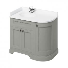 Burlington Olive 1000mm Curved Vanity Unit With Doors, Worktop & Basin - Left Hand