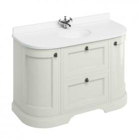 Burlington Sand 1340mm Curved Vanity Unit With Doors & Drawers, Worktop & Basin