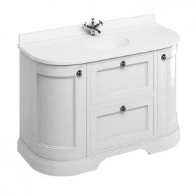 Burlington Matt White 1340mm Curved Vanity Unit With Doors & Drawers, Worktop & Basin