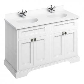 Burlington Matt White 1300mm Freestanding Double Vanity Unit, Worktop & Basin
