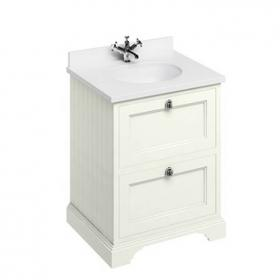 Burlington Sand 670mm Two Drawer Vanity Unit With Minerva Worktop & Basin
