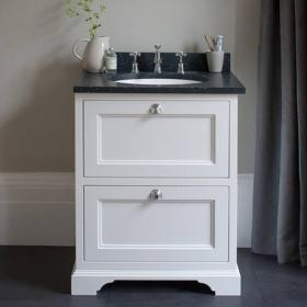 Burlington Matt White 670mm Two Drawer Vanity Unit With Minerva Worktop & Basin