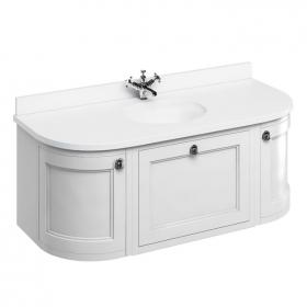 Burlington Matt White 1340mm Wall Hung Curved Vanity Unit, Worktop & Basin