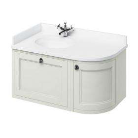 Burlington Sand 1000mm Wall Hung Curved Vanity Unit, Worktop & Basin - Left Hand