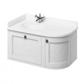Burlington Matt White 1000mm Wall Hung Curved Vanity Unit, Worktop & Basin - Left Hand