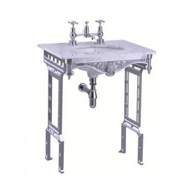 Burlington Georgian Marble Basin & Polished Aluminium Washstand