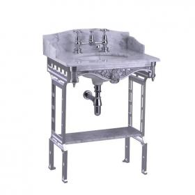 Burlington Georgian Marble Basin & Polished Aluminium Washstand & Shelf