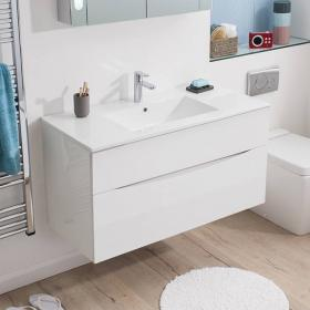 Bauhaus Glide II 100 White Gloss Vanity Unit & Ceramic Basin