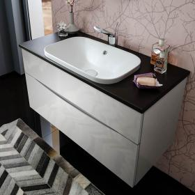 Bauhaus Glide II White Gloss 100 Vanity Unit With Plus+Ton White Worktop & Basin