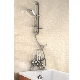 Burlington Angled Bath Shower Mixer With Slide Rail & Soap Basket