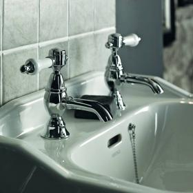 Heritage Glastonbury Chrome Basin Pillar Taps