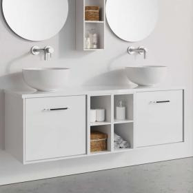 Crosswater Infinity 1400mm White Gloss Two Drawer Vanity & Double Base Unit